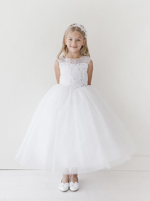 Stylish First Communion Dress Illusion Neckline