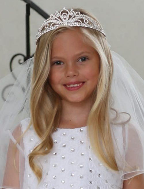 Stylish First Communion Crown Veil