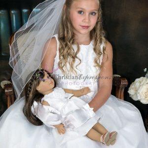 Taffeta First Communion Dress with American Girl Doll Dress