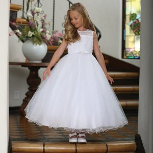 Tea Length First Communion Dress with Organza