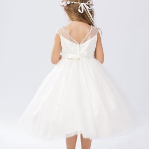 V-Neck-First-Communion-Tea-Length-Dress