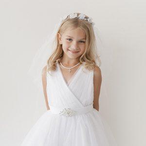 V neckline Full Length First Communion Dress with Brooch