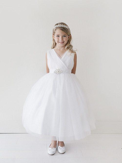 V neckline Glitter Tulle Full Length First Communion Dress with Brooch