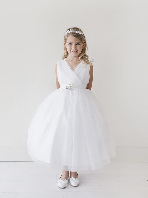 V neckline Glitter Tulle Full Length First Communion Dress with Brooch