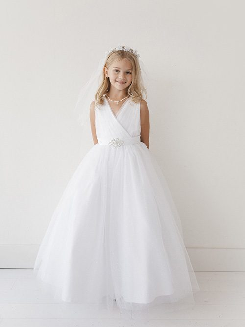 Floor Length First Communion Dress with Brooch