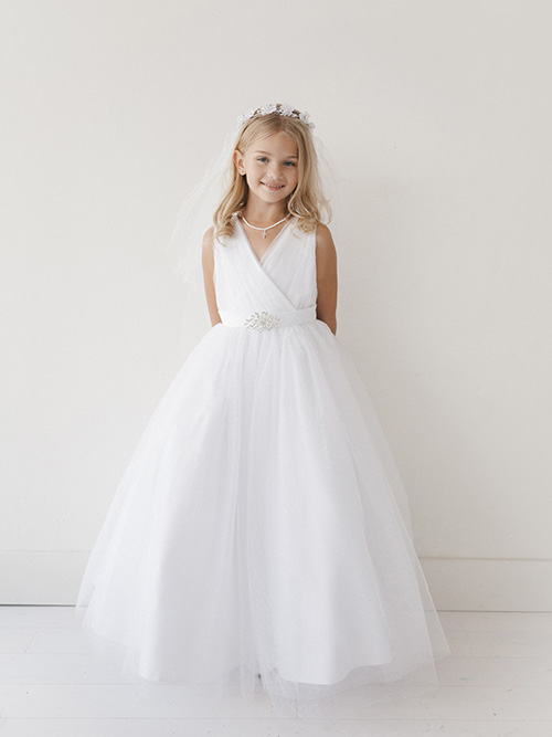 3acc219f094 Long Length First Communion Dress with Brooch
