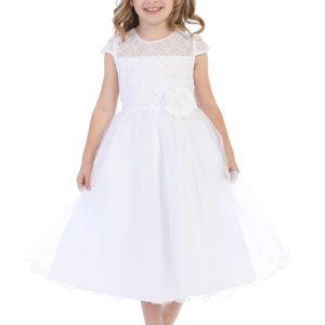 White First Communion Dress with Beaded Bodice