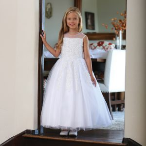 White First Communion Dress with Corset Back and Beading