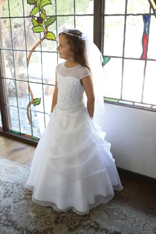 White First Communion Dress with Organza Draped Skirt