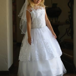 White Lace First Communion Dresses