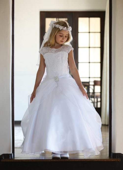 White Organza First Communion Dress with Cap Sleeves