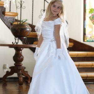 White Satin First Communion Dress