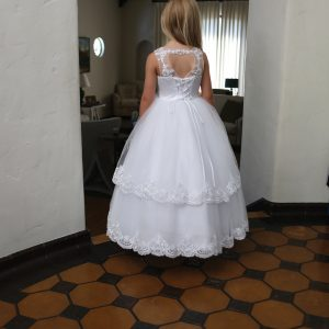 White Satin First Communion Dress with Lace Up Corset Back