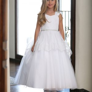 White Satin First Communion Dress with Lace and Tulle