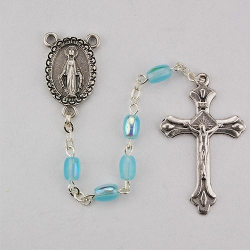 Aqua Blue First Communion Rosary Beads
