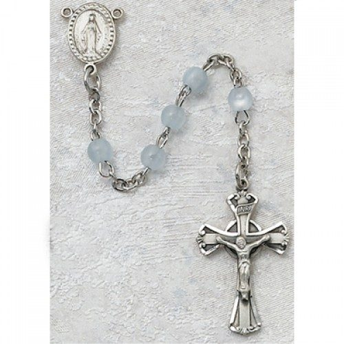 Baby Blue Miraculous Mary First Communion Childrens Rosary Beads