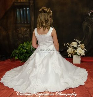 Beautiful Long Length First Holy Communion Dress Lace and Beading