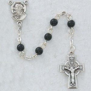 Black First Communion Childrens Rosary Beads