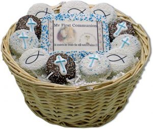 Boy My First Communion Sugar Cookie Gift Basket