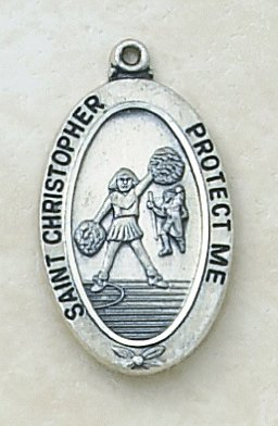Catholic St Christopher Cheerleader Sports Medal