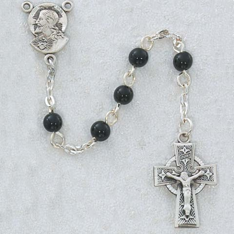 Celtic Cross Black First Communion Childrens Rosary Beads