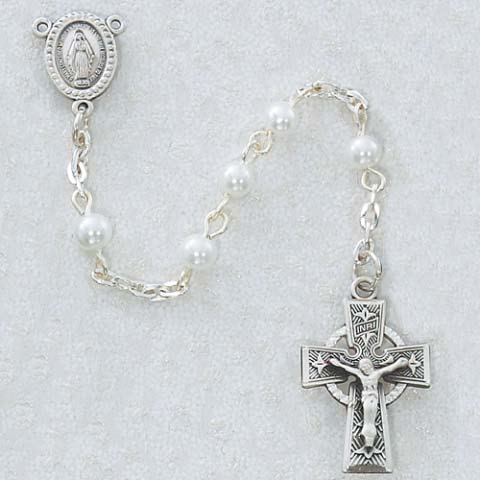 Celtic Cross Pearl First Communion Childrens Rosary Beads