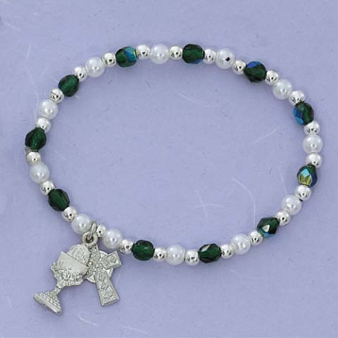 Celtic Cross and Chalice First Communion Childrens Rosary Bracelet