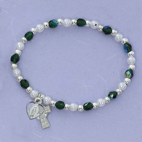 Celtic Cross and Mary First Communion Childrens Rosary Bracelet