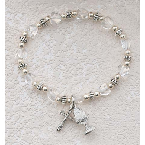 Clear Hearts First Communion Childrens Rosary Bracelet