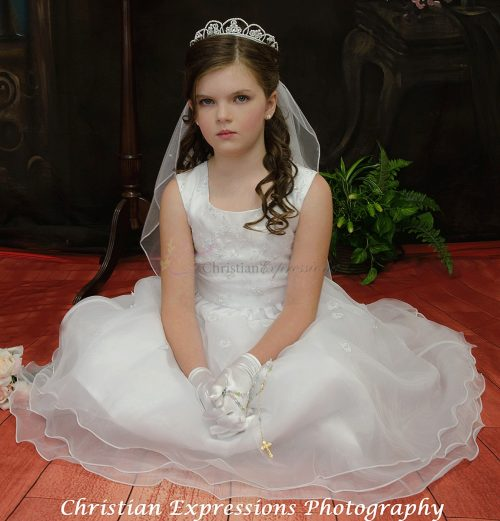 layered organza first communion dress