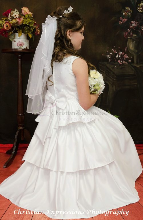 satin triple layer skirt with pearls first communion dress