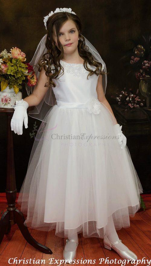 satin first communion dress tulle skirt