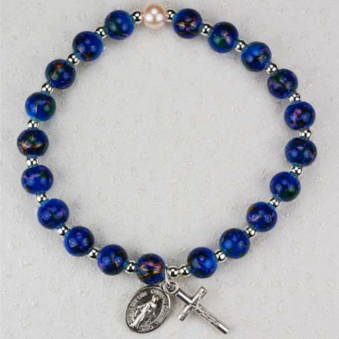 Deep Blue First Communion Childrens Rosary Bracelet