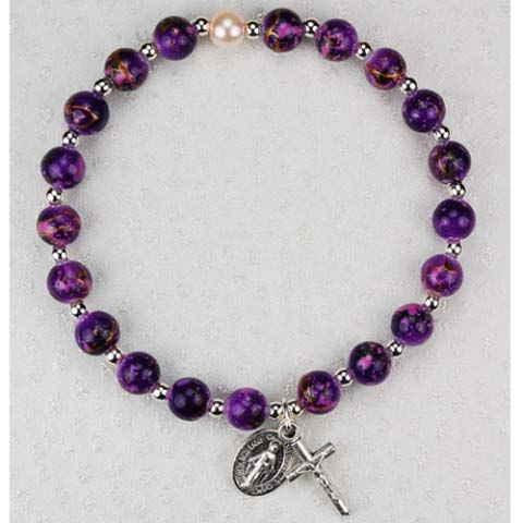 Deep Purple First Communion Childrens Rosary Bracelet