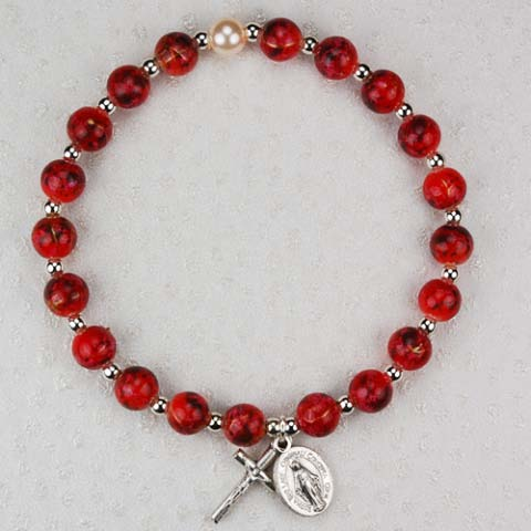 Deep Red First Communion Childrens Rosary Bracelet