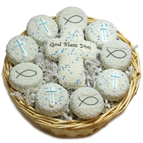 First Communion Oreo Cookie Basket with Crosses