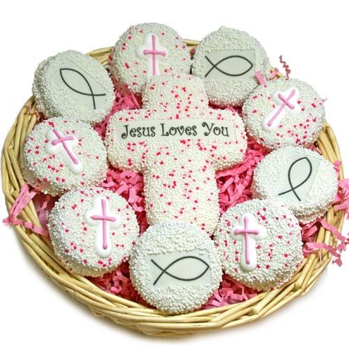 First Communion Sugar Cookie Favors with Crosses