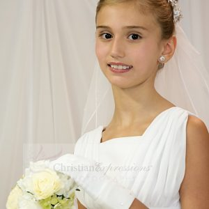 First Communion Veil Crystal and Pearls Wreath