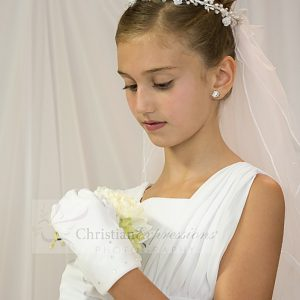 First Communion Veils Crystal and Pearls Wreath