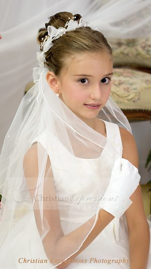 First Communion Wreath Veils Bows and Beads