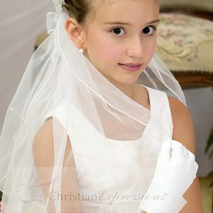 First Communion Wreath Veils Bows and Pearls