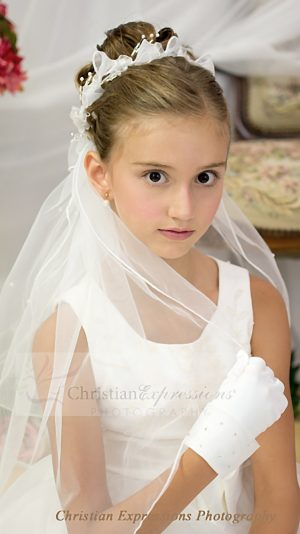 First Communion Wreath Veils Organza Bows and Beads
