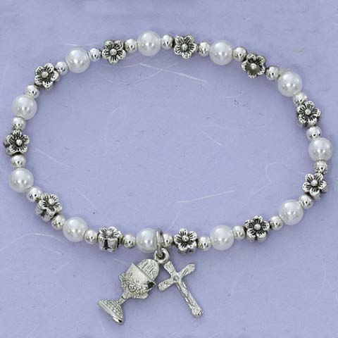 Flowers and Pearls First Communion Childrens Rosary Bracelet