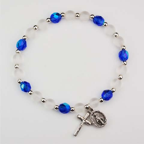Frosted Pearl Blue First Communion Childrens Rosary Bracelet