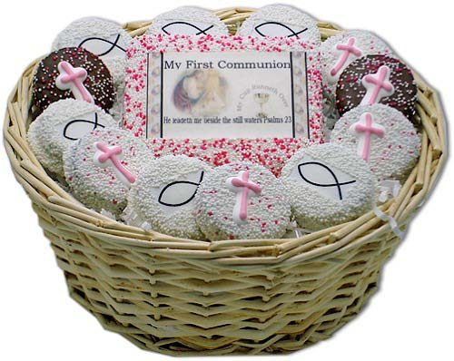 Girl My First Communion Sugar Cookie Gift Basket