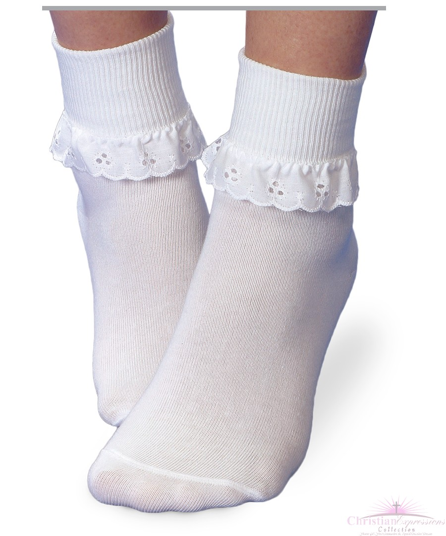 Girls White First Communion Anklets with Crochet Trim