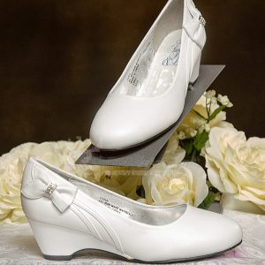 Girls White First Communion Shoes Wedge Heel and Bow