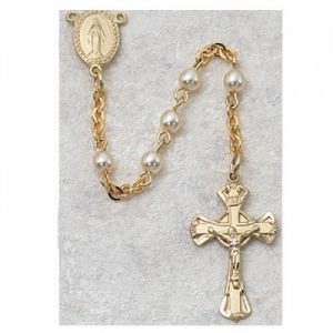 Gold Plated Pearl Miraculous Mary First Communion Childrens Rosary Beads