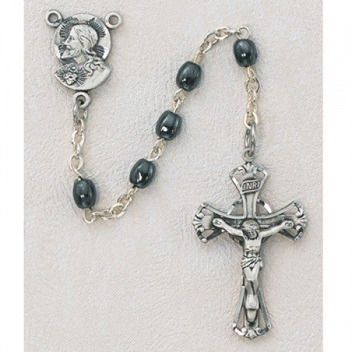 Gray First Communion Childrens Rosary Beads