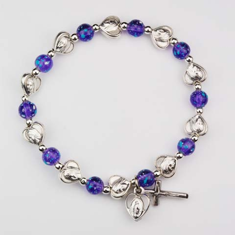 Hearts and Purple First Communion Rosary Bracelet